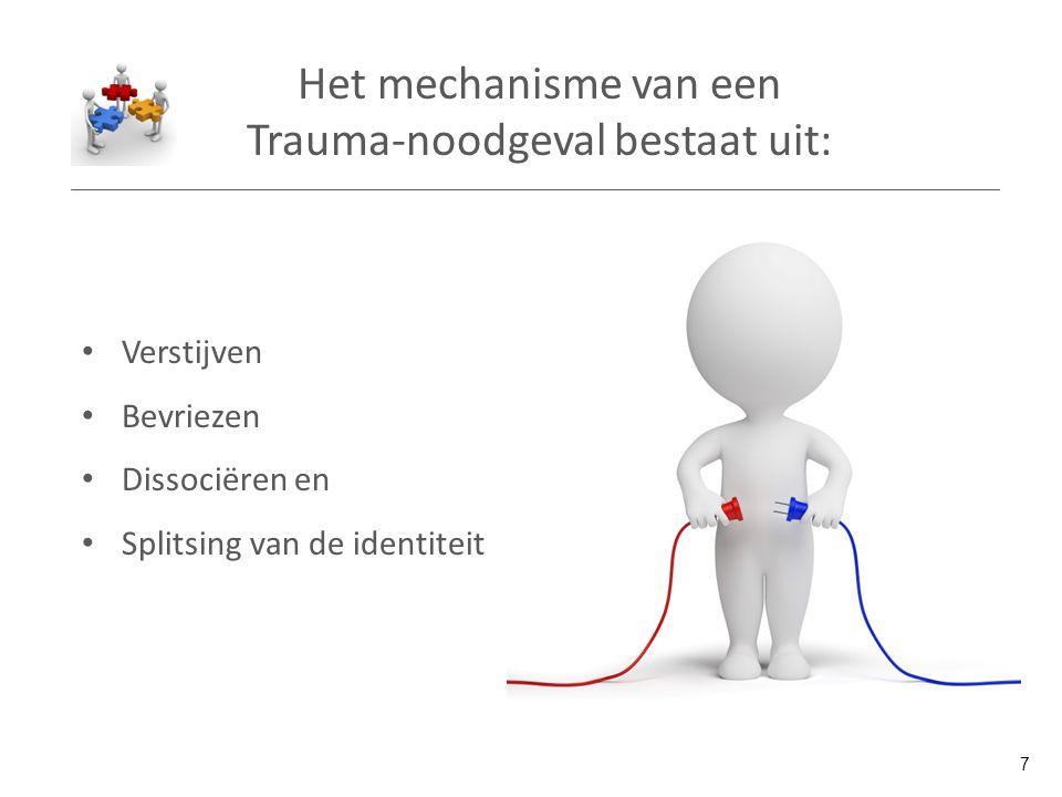 Het mechanisme van een Trauma-noodgeval bestaat uit: Verstijven Bevriezen Dissociëren en Splitsing van de identiteit 7