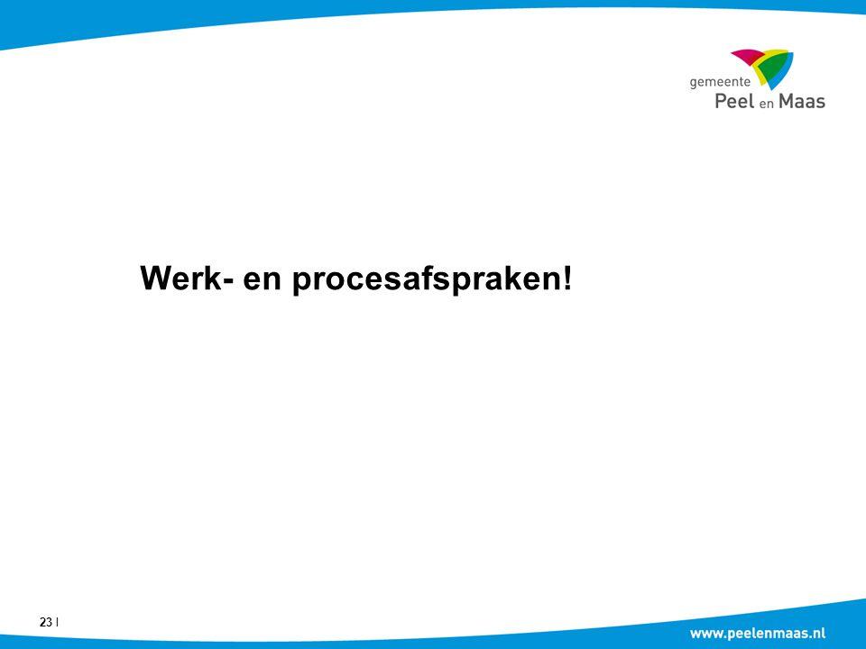 Werk- en procesafspraken! 23 Ι