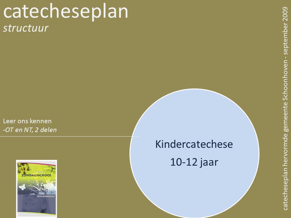 Kindercatechese 10-12 jaar catecheseplan structuur catecheseplan hervormde gemeente Schoonhoven - september 2009 Leer ons kennen -OT en NT, 2 delen