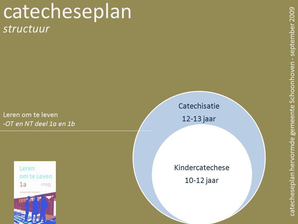 Catechisatie 12-13 jaar Kindercatechese 10-12 jaar catecheseplan structuur catecheseplan hervormde gemeente Schoonhoven - september 2009 Leren om te l