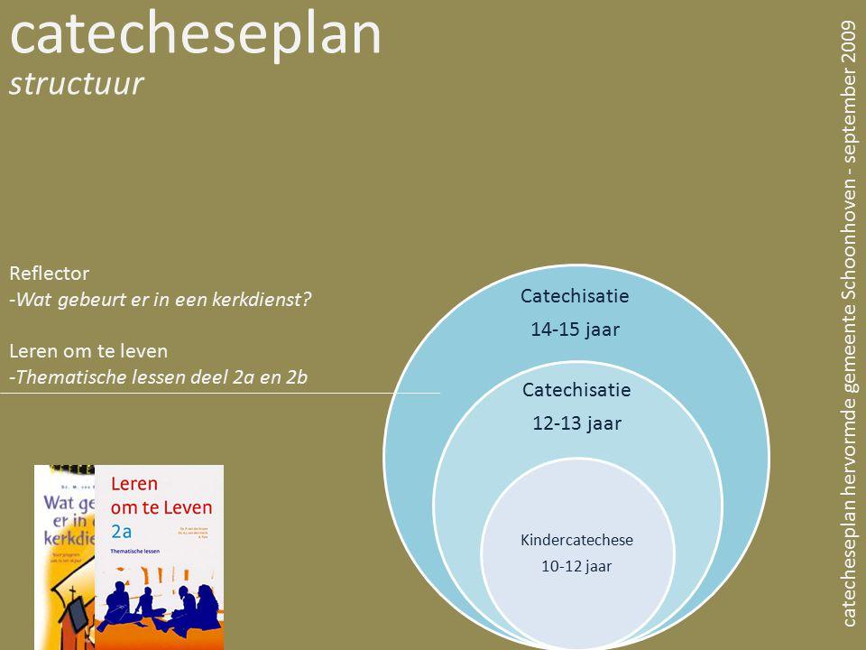 Catechisatie 14-15 jaar Catechisatie 12-13 jaar Kindercatechese 10-12 jaar catecheseplan structuur catecheseplan hervormde gemeente Schoonhoven - sept