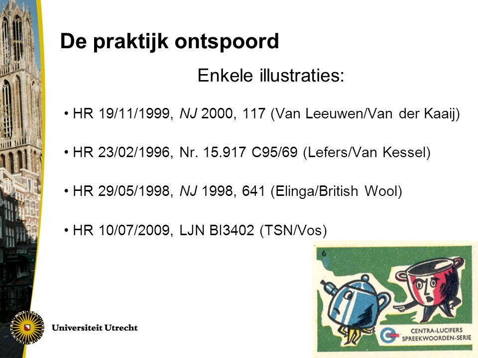 De praktijk ontspoord Enkele illustraties: HR 19/11/1999, NJ 2000, 117 (Van Leeuwen/Van der Kaaij) HR 23/02/1996, Nr.