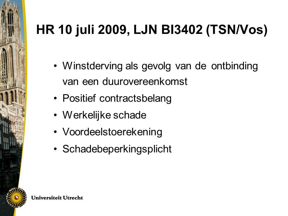 HR 10 juli 2009, LJN BI3402 (TSN/Vos) Winstderving als gevolg van de ontbinding van een duurovereenkomst Positief contractsbelang Werkelijke schade Voordeelstoerekening Schadebeperkingsplicht