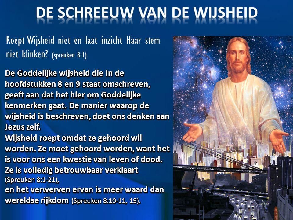 Roept Wijsheid niet en laat inzicht Haar stem niet klinken (spreuken 8:1)