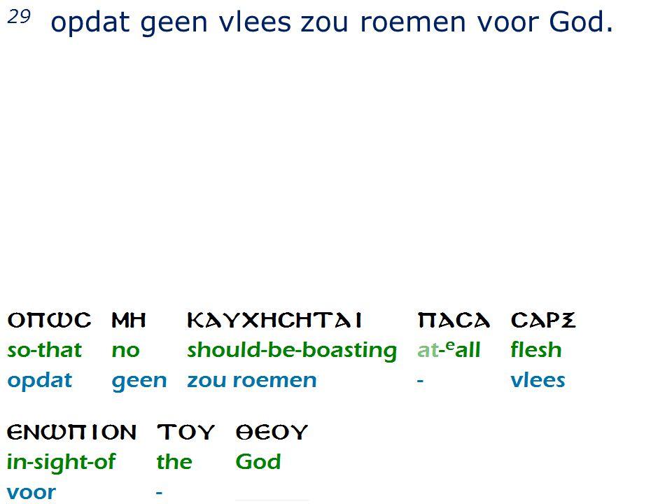 29 opdat geen vlees zou roemen voor God.