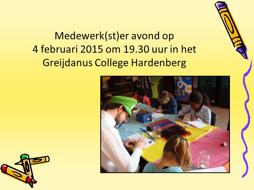 Medewerk(st)er avond op 4 februari 2015 om 19.30 uur in het Greijdanus College Hardenberg