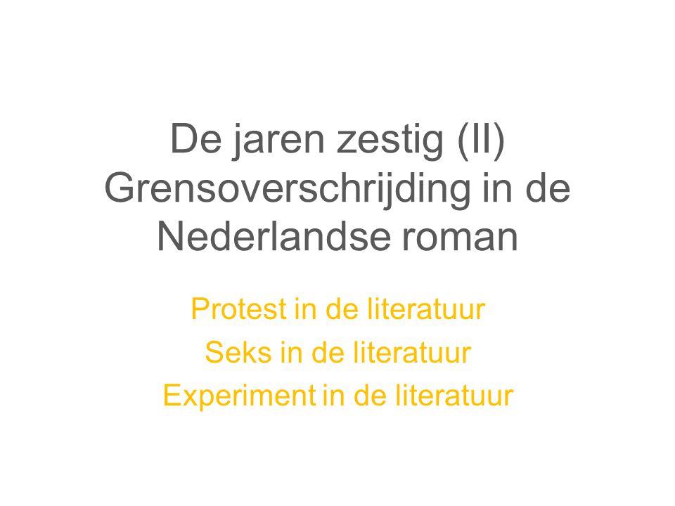 De jaren zestig (II) Grensoverschrijding in de Nederlandse roman Protest in de literatuur Seks in de literatuur Experiment in de literatuur