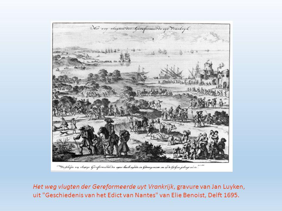 Het weg vlugten der Gereformeerde uyt Vrankrijk, gravure van Jan Luyken, uit Geschiedenis van het Edict van Nantes van Elie Benoist, Delft 1695.