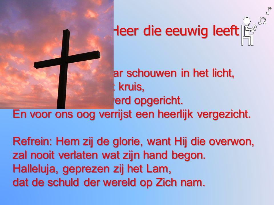 Geprezen zij de Heer die eeuwig leeft Vers 3 Hij doet ons dankbaar schouwen in het licht, dat uitstraalt van het kruis, dat eens voor ons werd opgeric