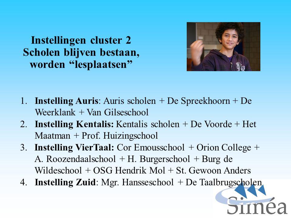 """Instellingen cluster 2 Scholen blijven bestaan, worden """"lesplaatsen"""" 1. Instelling Auris: Auris scholen + De Spreekhoorn + De Weerklank + Van Gilsesch"""