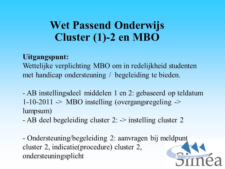 Wet Passend Onderwijs Cluster (1)-2 en MBO Uitgangspunt: Wettelijke verplichting MBO om in redelijkheid studenten met handicap ondersteuning / begelei