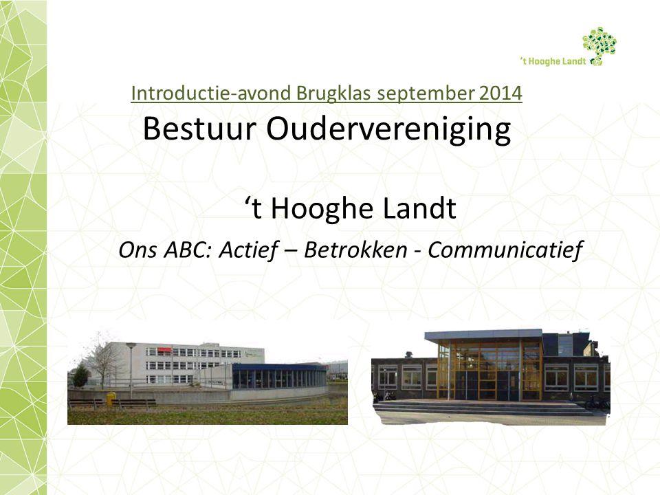 Introductie-avond Brugklas september 2014 Bestuur Oudervereniging 't Hooghe Landt Ons ABC: Actief – Betrokken - Communicatief