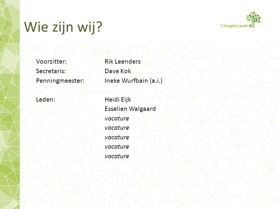 Wie zijn wij? Voorzitter: Rik Leenders Secretaris:Dave Kok Penningmeester: Ineke Wurfbain (a.i.) Leden:Heidi Eijk Esselien Walgaard vacature