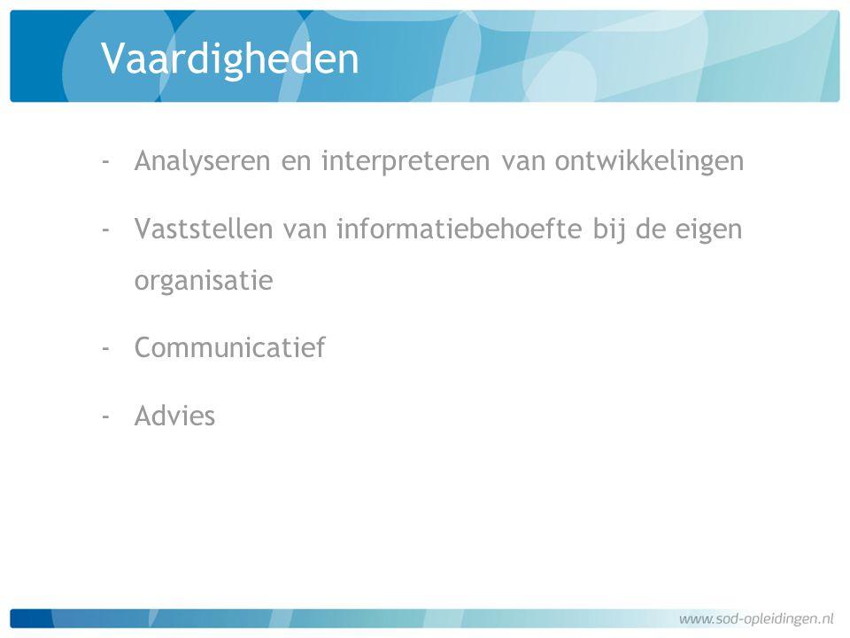 Vaardigheden ‐Analyseren en interpreteren van ontwikkelingen ‐Vaststellen van informatiebehoefte bij de eigen organisatie ‐Communicatief ‐Advies