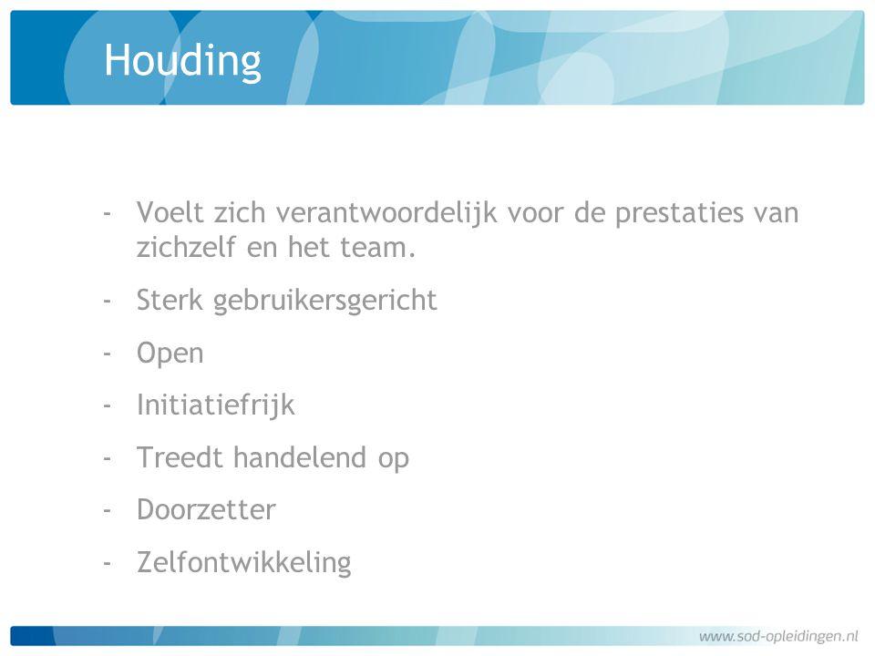 Houding ‐Voelt zich verantwoordelijk voor de prestaties van zichzelf en het team. ‐Sterk gebruikersgericht ‐Open ‐Initiatiefrijk ‐Treedt handelend op