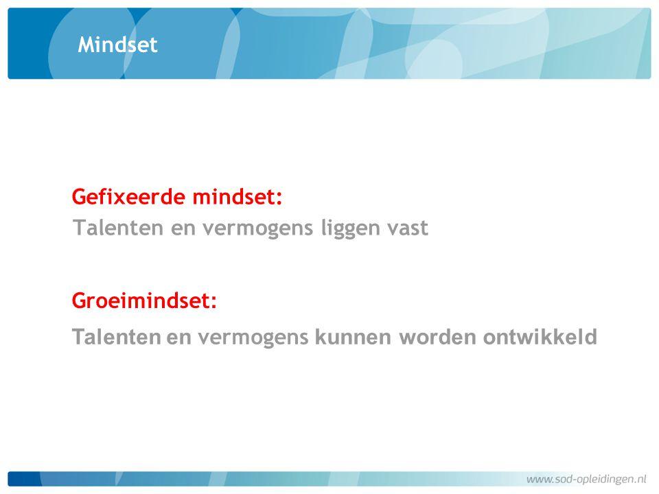 Mindset Talenten en vermogens liggen vast Gefixeerde mindset: Groeimindset : Talenten en vermogens kunnen worden ontwikkeld
