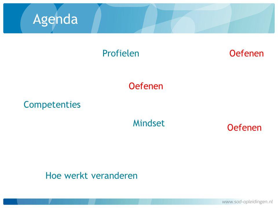 Agenda Competenties Hoe werkt veranderen Profielen Mindset Oefenen