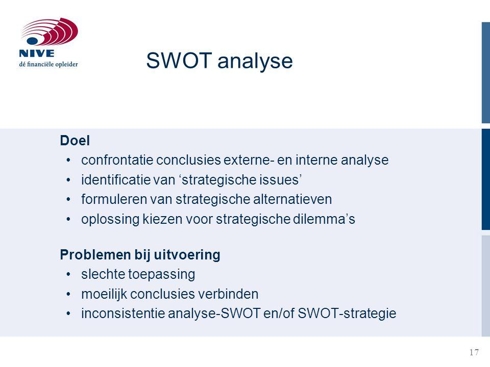 17 SWOT analyse Doel confrontatie conclusies externe- en interne analyse identificatie van 'strategische issues' formuleren van strategische alternati