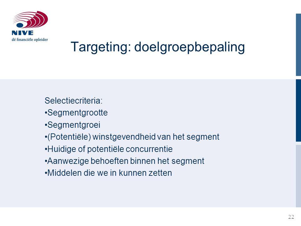 22 Targeting: doelgroepbepaling Selectiecriteria: Segmentgrootte Segmentgroei (Potentiële) winstgevendheid van het segment Huidige of potentiële concu