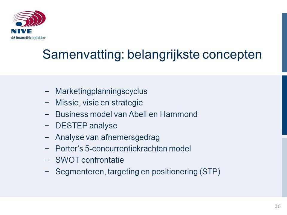 Samenvatting: belangrijkste concepten −Marketingplanningscyclus −Missie, visie en strategie −Business model van Abell en Hammond −DESTEP analyse −Anal