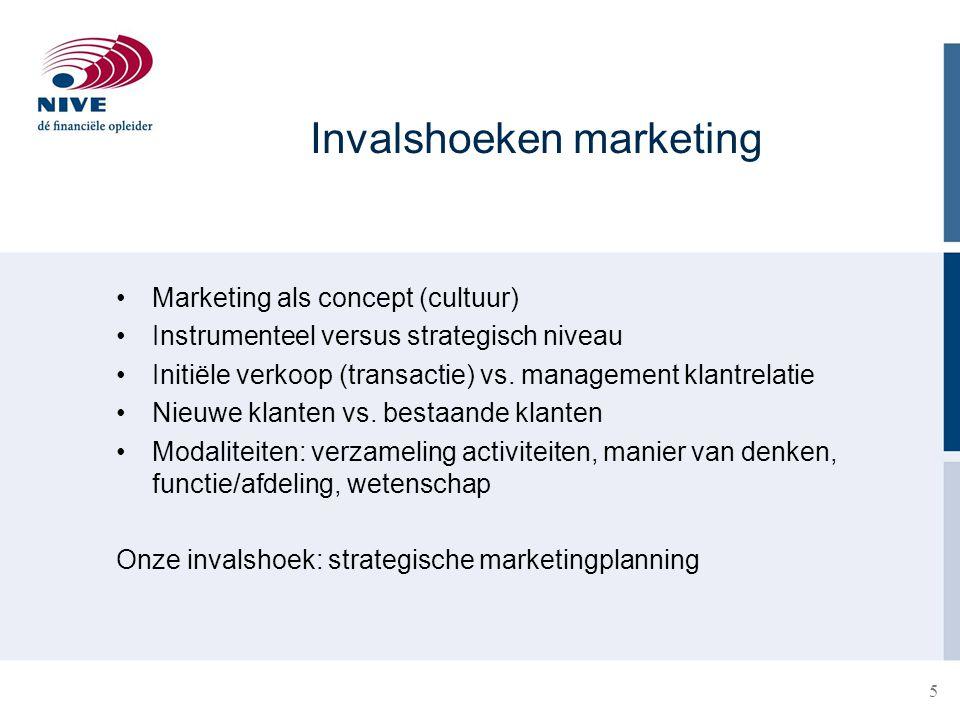 5 Marketing als concept (cultuur) Instrumenteel versus strategisch niveau Initiële verkoop (transactie) vs. management klantrelatie Nieuwe klanten vs.