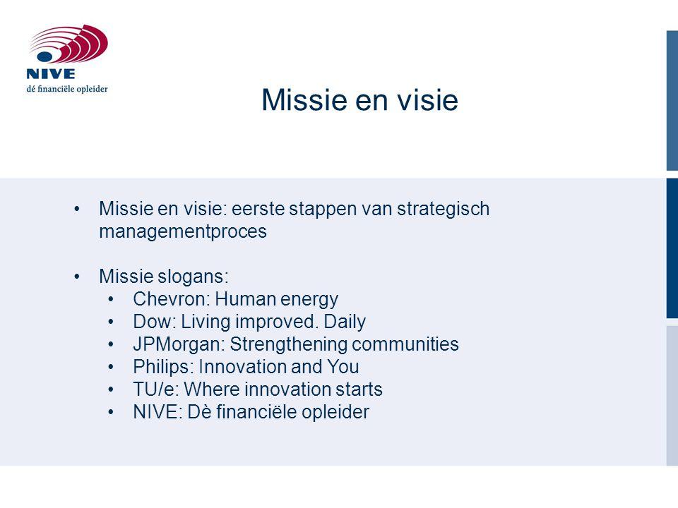 Missie en visie Missie en visie: eerste stappen van strategisch managementproces Missie slogans: Chevron: Human energy Dow: Living improved. Daily JPM