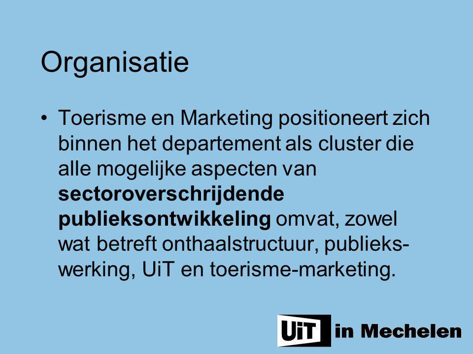 Organisatie Toerisme en Marketing positioneert zich binnen het departement als cluster die alle mogelijke aspecten van sectoroverschrijdende publiekso