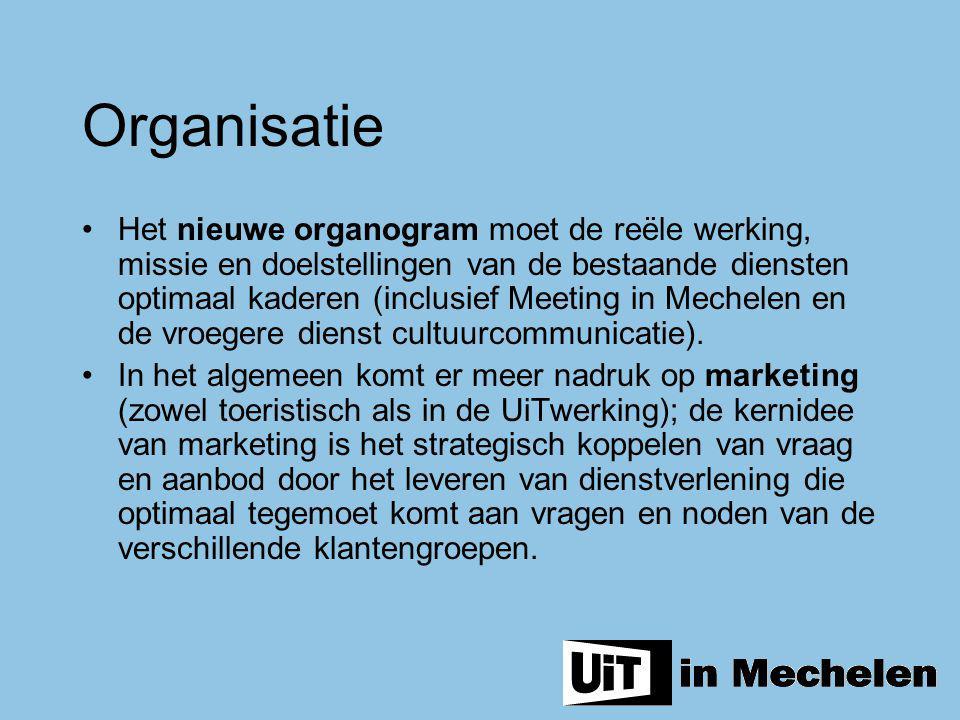 Het nieuwe organogram moet de reële werking, missie en doelstellingen van de bestaande diensten optimaal kaderen (inclusief Meeting in Mechelen en de