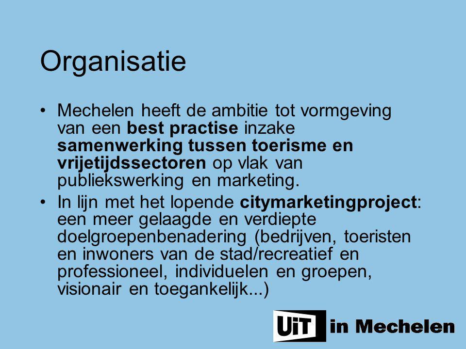 Mechelen heeft de ambitie tot vormgeving van een best practise inzake samenwerking tussen toerisme en vrijetijdssectoren op vlak van publiekswerking e