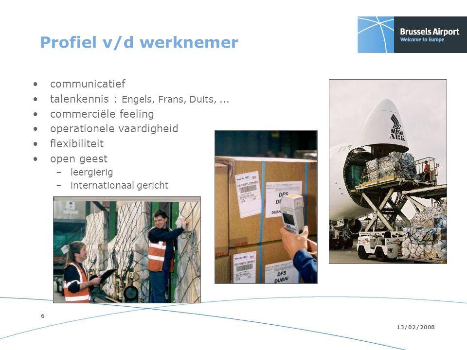 6 13/02/2008 Profiel v/d werknemer communicatief talenkennis : Engels, Frans, Duits,...