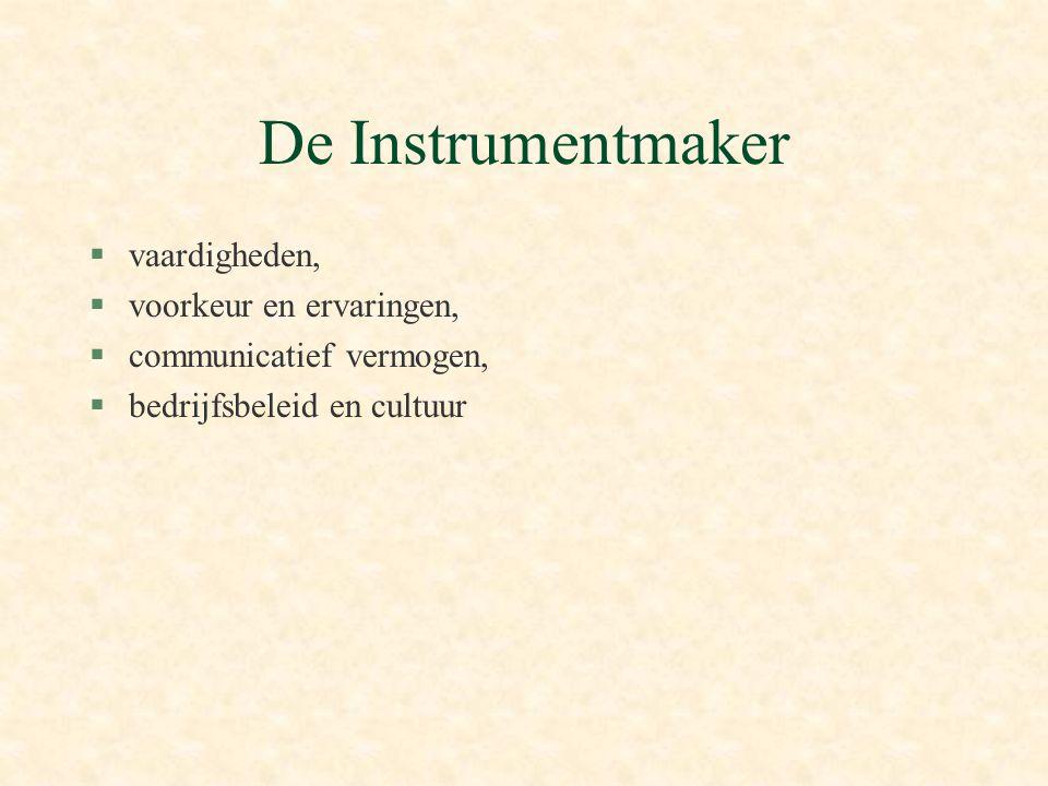 De Instrumentmaker §vaardigheden, §voorkeur en ervaringen, §communicatief vermogen, §bedrijfsbeleid en cultuur