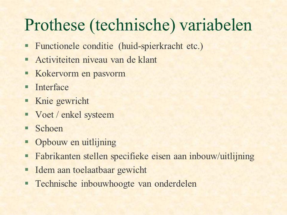 Prothese (technische) variabelen §Functionele conditie (huid-spierkracht etc.) §Activiteiten niveau van de klant §Kokervorm en pasvorm §Interface §Kni