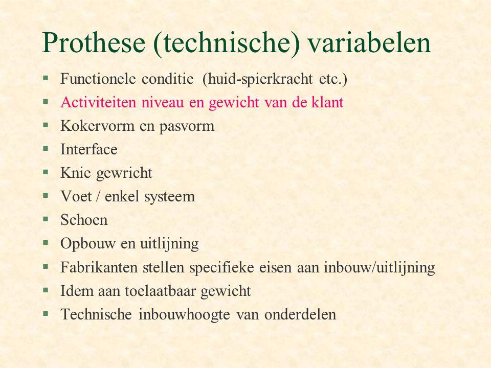 Prothese (technische) variabelen §Functionele conditie (huid-spierkracht etc.) §Activiteiten niveau en gewicht van de klant §Kokervorm en pasvorm §Int