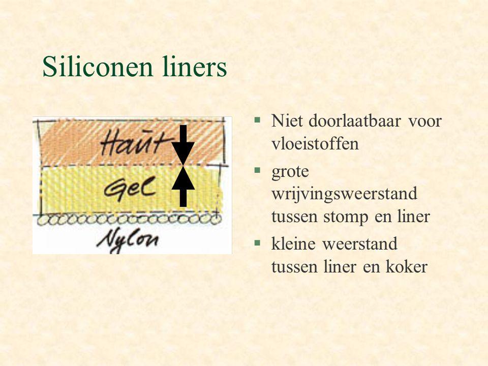 §Niet doorlaatbaar voor vloeistoffen §grote wrijvingsweerstand tussen stomp en liner §kleine weerstand tussen liner en koker Siliconen liners