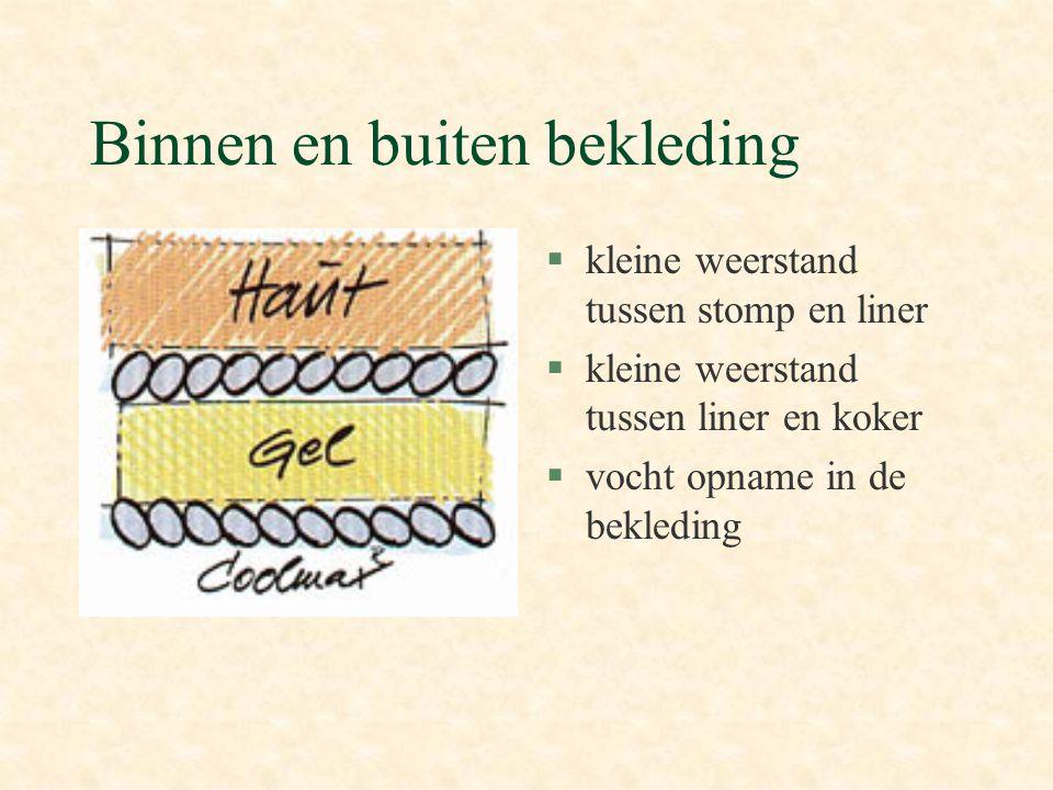 Binnen en buiten bekleding §kleine weerstand tussen stomp en liner §kleine weerstand tussen liner en koker §vocht opname in de bekleding