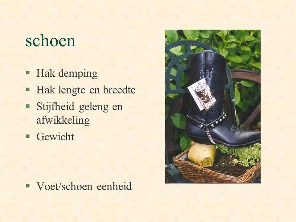 schoen §Hak demping §Hak lengte en breedte §Stijfheid geleng en afwikkeling §Gewicht §Voet/schoen eenheid