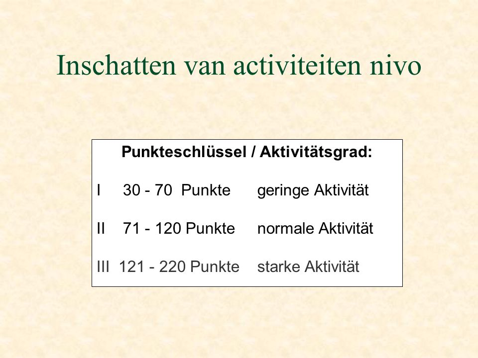 Inschatten van activiteiten nivo Punkteschlüssel / Aktivitätsgrad: I 30 - 70 Punkte geringe Aktivität II 71 - 120 Punkte normale Aktivität III 121 - 220 Punkte starke Aktivität