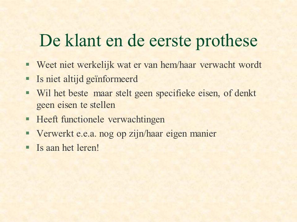 De klant en de eerste prothese §Weet niet werkelijk wat er van hem/haar verwacht wordt §Is niet altijd geïnformeerd §Wil het beste maar stelt geen spe