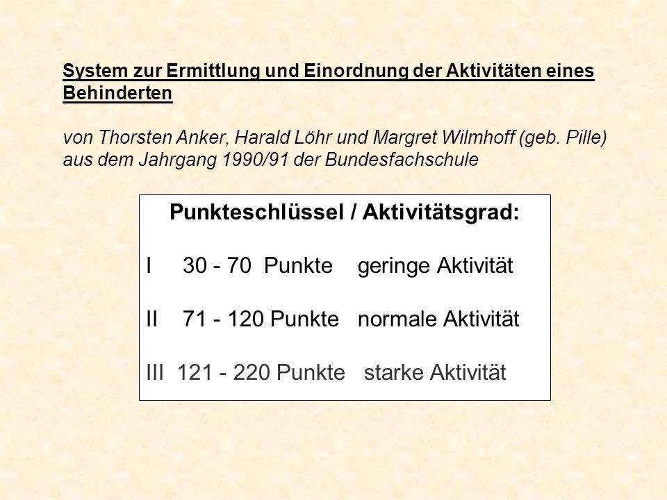 System zur Ermittlung und Einordnung der Aktivitäten eines Behinderten von Thorsten Anker, Harald Löhr und Margret Wilmhoff (geb.