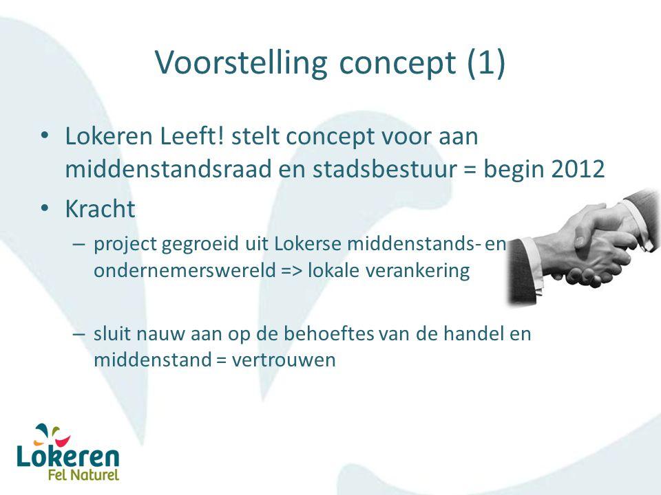 Voorstelling concept (2) Kracht – voldoende interne knowhow schept vertrouwen (commercieel, technologisch, communicatief) – project verenigt handel en toerisme = citymarketing- dreamteam (later ook evenementen aan toegevoegd)