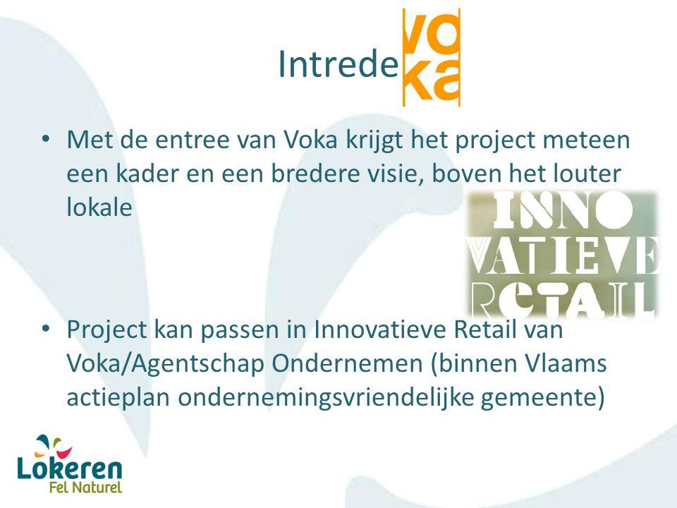 Intrede Met de entree van Voka krijgt het project meteen een kader en een bredere visie, boven het louter lokale Project kan passen in Innovatieve Retail van Voka/Agentschap Ondernemen (binnen Vlaams actieplan ondernemingsvriendelijke gemeente)