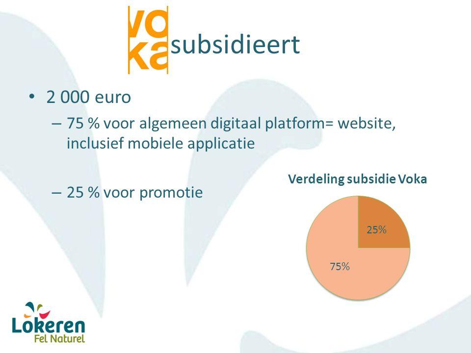 subsidieert 2 000 euro – 75 % voor algemeen digitaal platform= website, inclusief mobiele applicatie – 25 % voor promotie