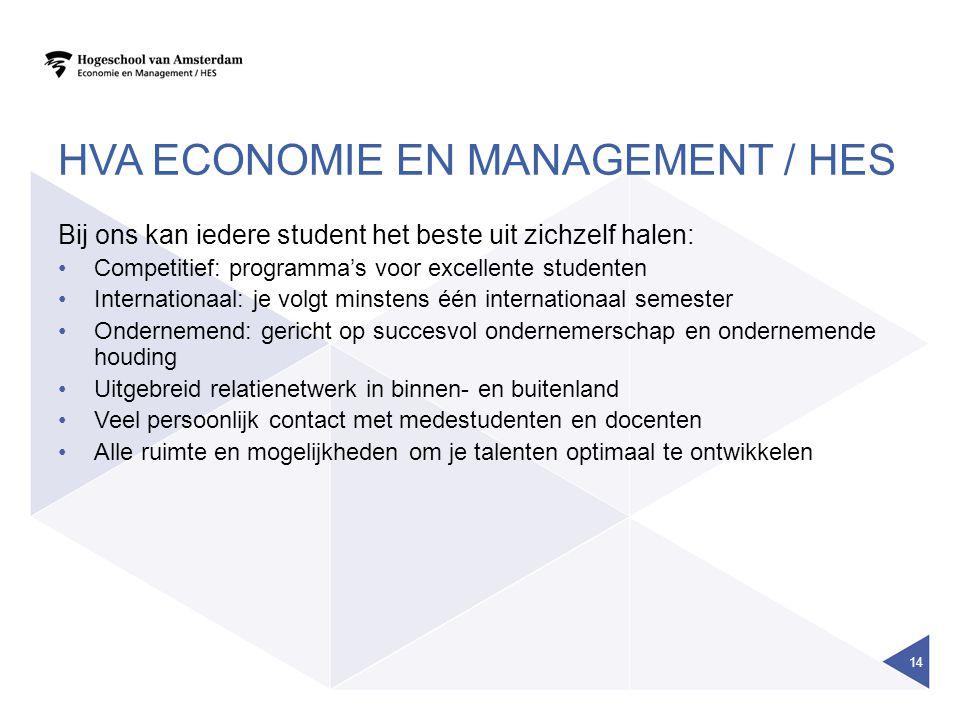 HVA ECONOMIE EN MANAGEMENT / HES Bij ons kan iedere student het beste uit zichzelf halen: Competitief: programma's voor excellente studenten Internati