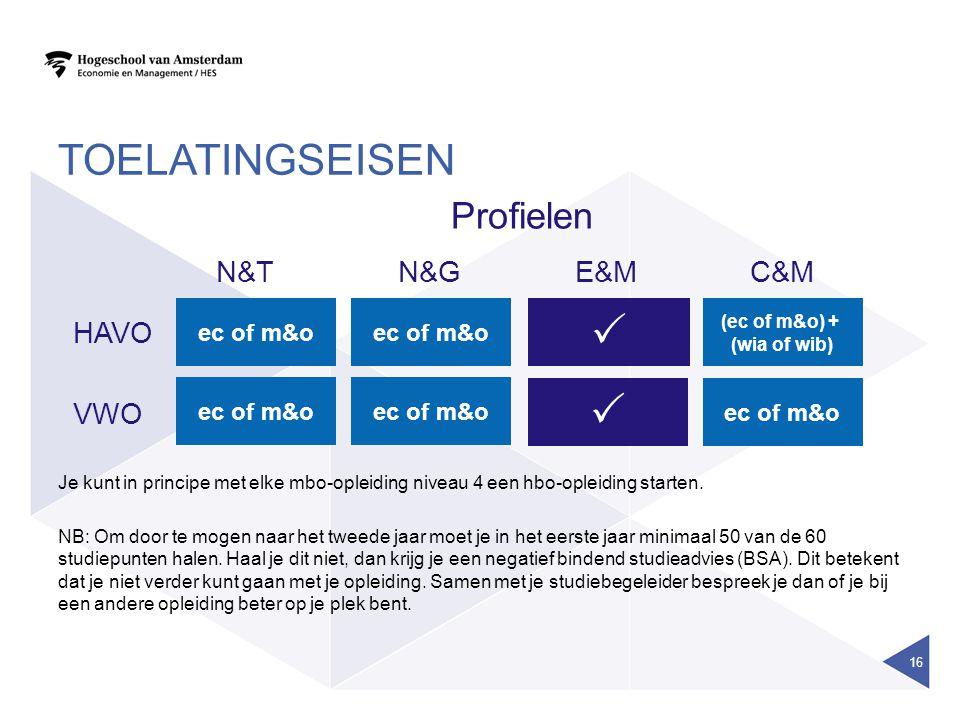 TOELATINGSEISEN Profielen ec of m&o E&MC&MN&TN&G ec of m&o  (ec of m&o) + (wia of wib) HAVO VWO  ec of m&o Je kunt in principe met elke mbo-opleidin