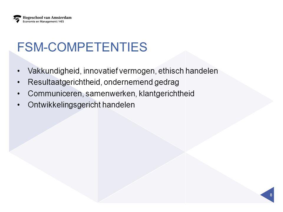 FSM-COMPETENTIES Vakkundigheid, innovatief vermogen, ethisch handelen Resultaatgerichtheid, ondernemend gedrag Communiceren, samenwerken, klantgericht