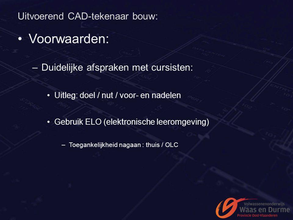 Uitvoerend CAD-tekenaar bouw: Voorwaarden: –Duidelijke afspraken met cursisten: Uitleg: doel / nut / voor- en nadelen Gebruik ELO (elektronische leero