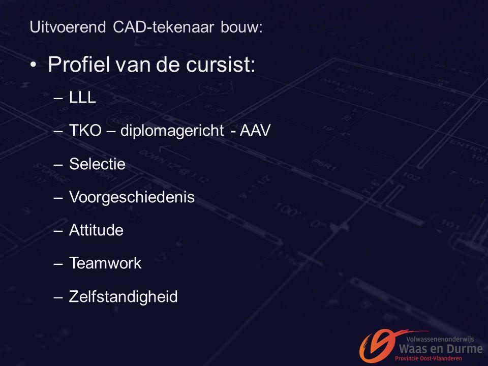 Uitvoerend CAD-tekenaar bouw: Profiel van de cursist: –LLL –TKO – diplomagericht - AAV –Selectie –Voorgeschiedenis –Attitude –Teamwork –Zelfstandighei