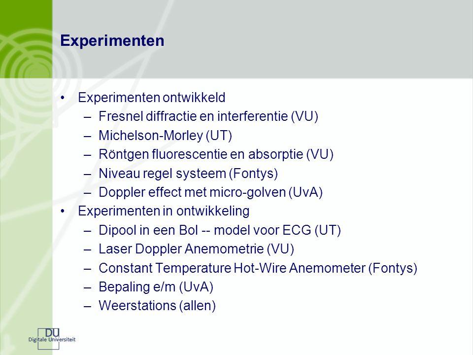Experimenten Experimenten ontwikkeld –Fresnel diffractie en interferentie (VU) –Michelson-Morley (UT) –Röntgen fluorescentie en absorptie (VU) –Niveau regel systeem (Fontys) –Doppler effect met micro-golven (UvA) Experimenten in ontwikkeling –Dipool in een Bol -- model voor ECG (UT) –Laser Doppler Anemometrie (VU) –Constant Temperature Hot-Wire Anemometer (Fontys) –Bepaling e/m (UvA) –Weerstations (allen)