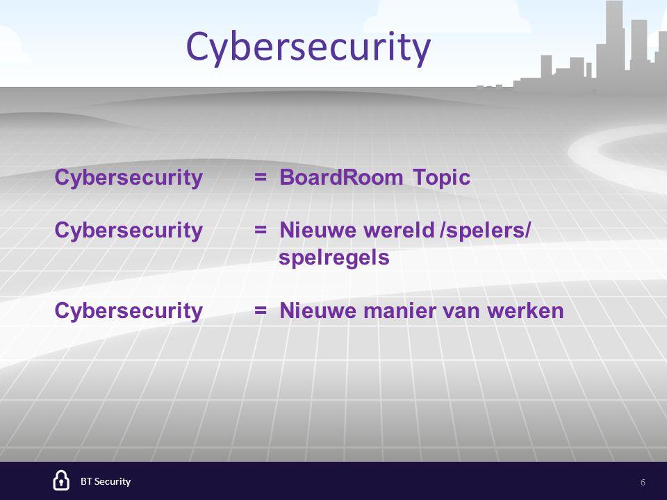 6 Cybersecurity Cybersecurity = BoardRoom Topic Cybersecurity = Nieuwe wereld /spelers/ spelregels Cybersecurity = Nieuwe manier van werken