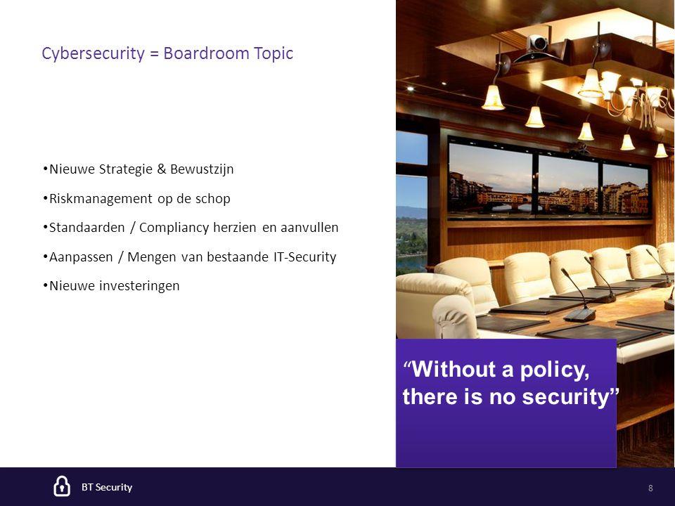BT Security 8 Nieuwe Strategie & Bewustzijn Riskmanagement op de schop Standaarden / Compliancy herzien en aanvullen Aanpassen / Mengen van bestaande IT-Security Nieuwe investeringen Cybersecurity = Boardroom Topic Without a policy, there is no security